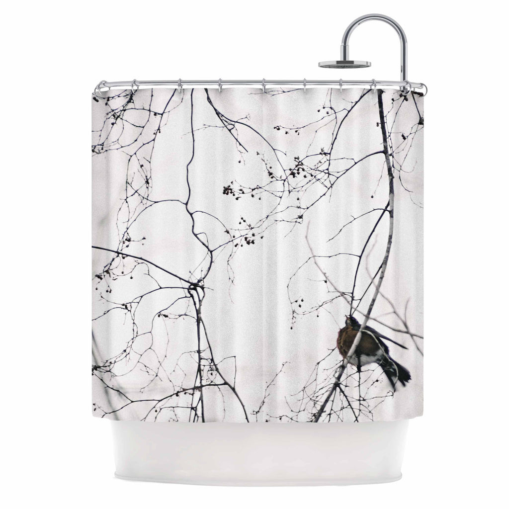 "Qing Ji ""Vintage Bird At Dusk"" Black White Shower Curtain - KESS InHouse"