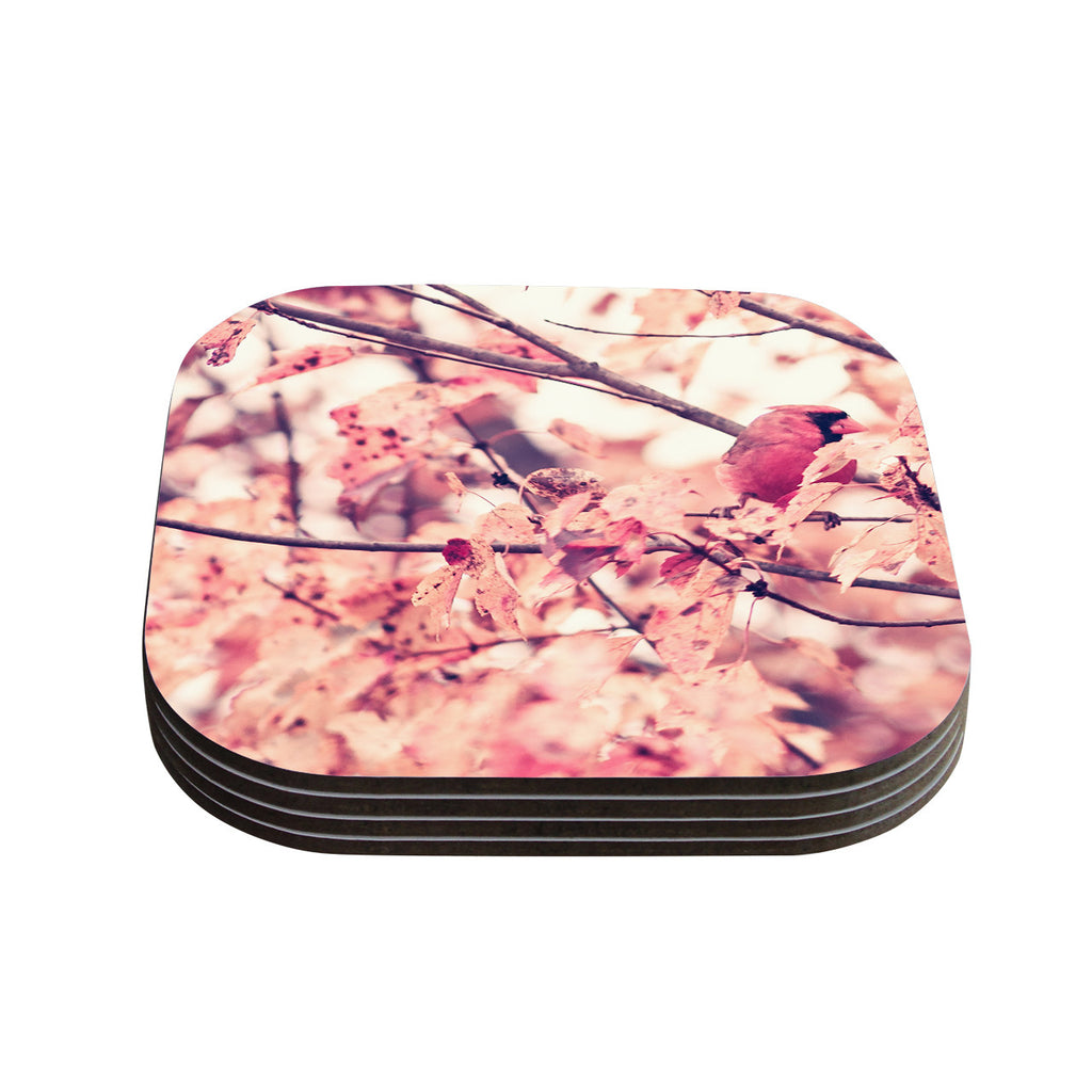 "Qing Ji ""Angry Bird in Fall Leaves"" Orange Nature Coasters (Set of 4)"