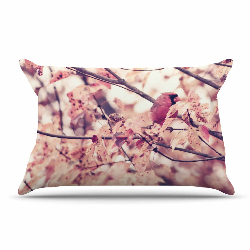 "Qing Ji ""Angry Bird in Fall Leaves"" Orange Nature Pillow Sham - KESS InHouse"