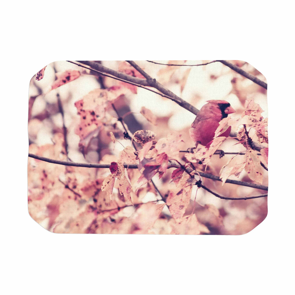 "Qing Ji ""Angry Bird in Fall Leaves"" Orange Nature Place Mat - KESS InHouse"