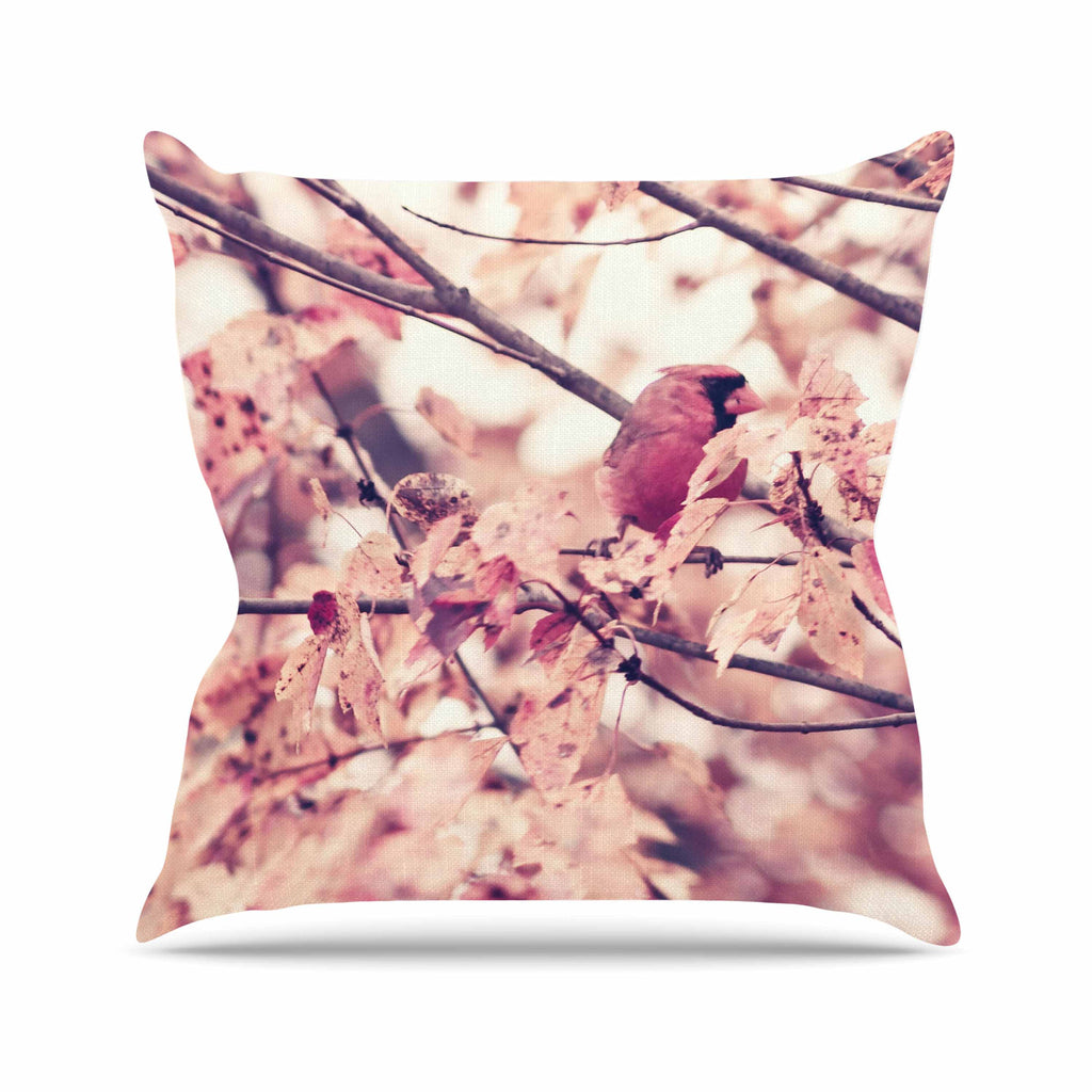 "Qing Ji ""Angry Bird in Fall Leaves"" Orange Nature Throw Pillow - KESS InHouse  - 1"
