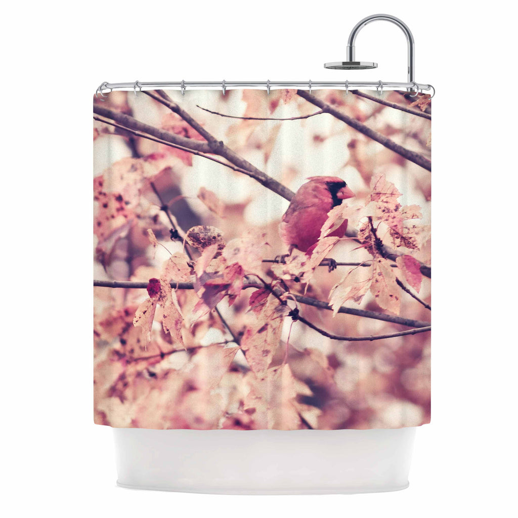 "Qing Ji ""Angry Bird in Fall Leaves"" Orange Nature Shower Curtain - KESS InHouse"