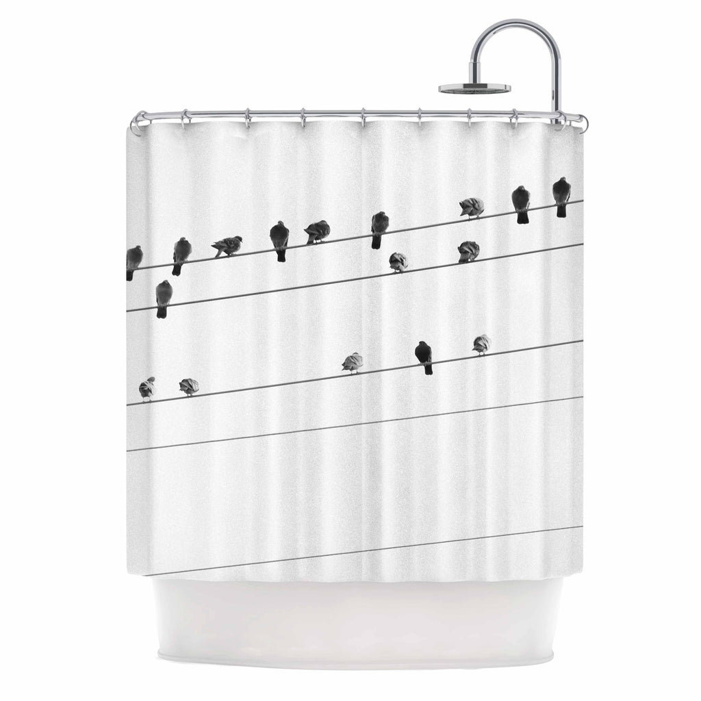 "Qing Ji ""Birds on Wire"" Black White Shower Curtain - KESS InHouse"
