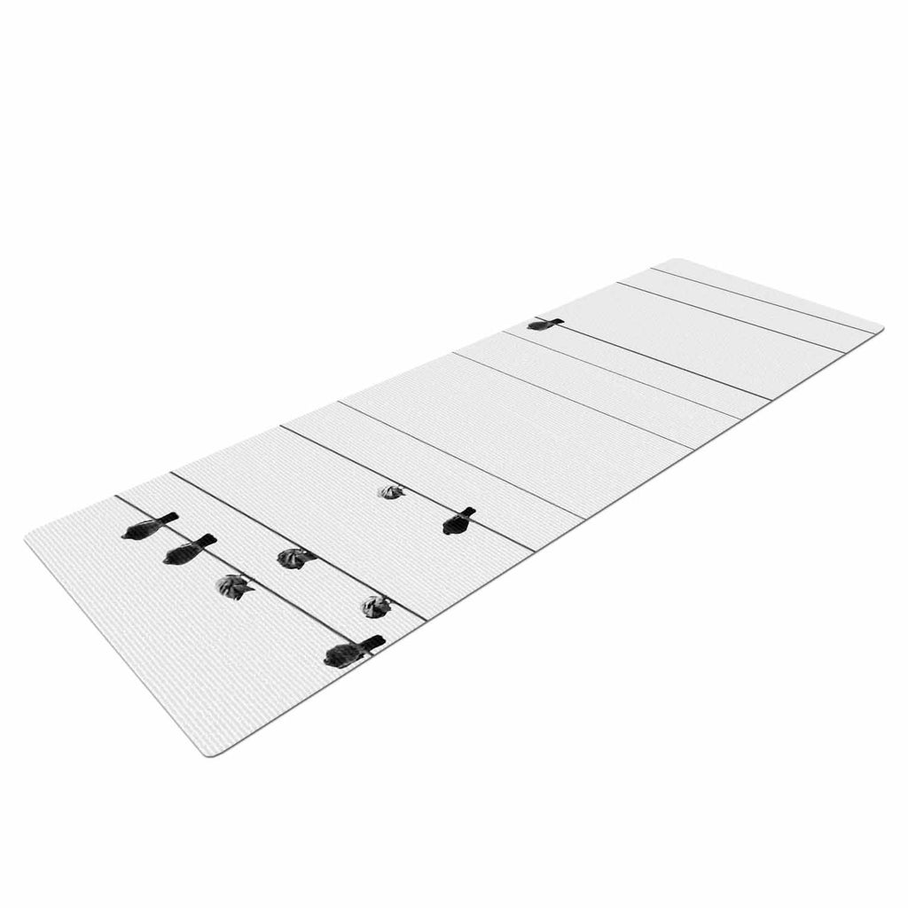 "Qing Ji ""Birds on Wire"" Black White Yoga Mat - KESS InHouse  - 1"
