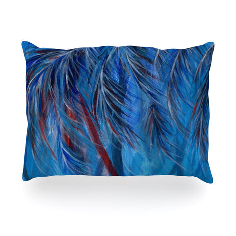 "Rosie Brown ""Red White Tropical"" Oblong Pillow - KESS InHouse"