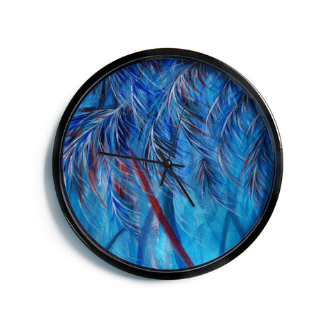"Rosie Brown ""Red White Tropical""  Modern Wall Clock"