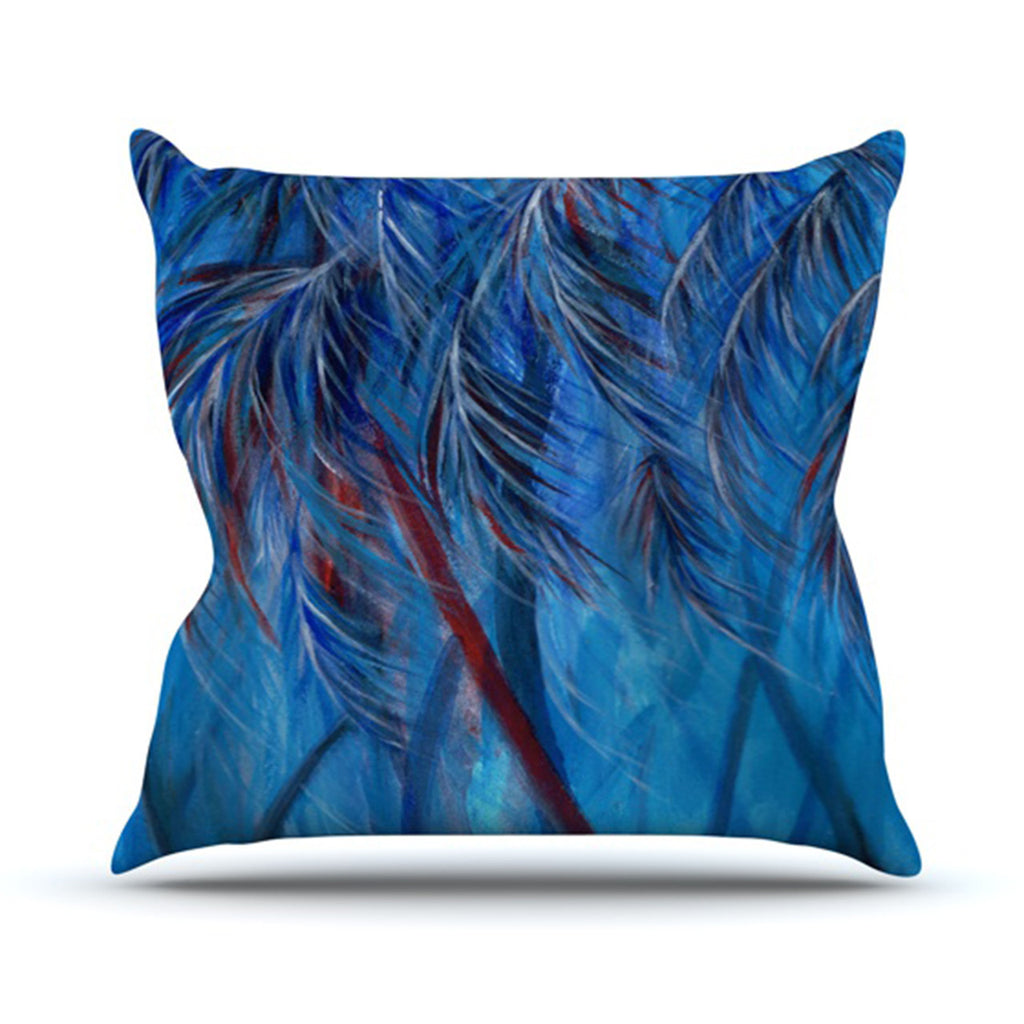 "Rosie Brown ""Red White Tropical"" Throw Pillow - KESS InHouse  - 1"