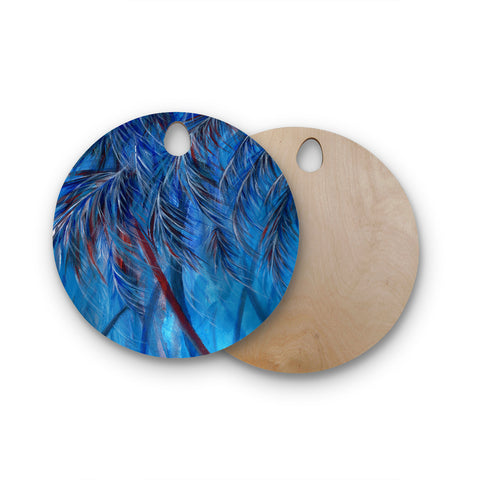 "Rosie Brown ""Red White Tropical"" Round Wooden Cutting Board"
