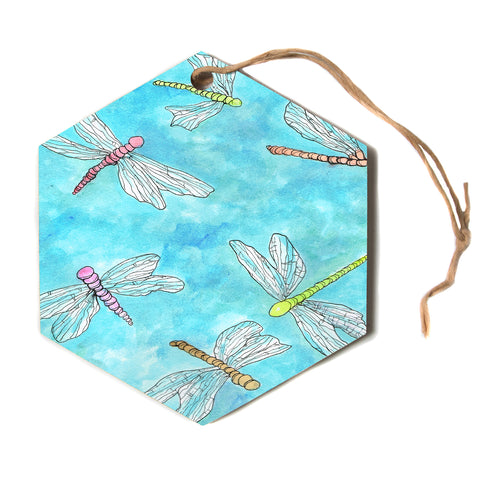 "Rosie Brown ""Dragonfly"" blue nature animals Hexagon Holiday Ornament"