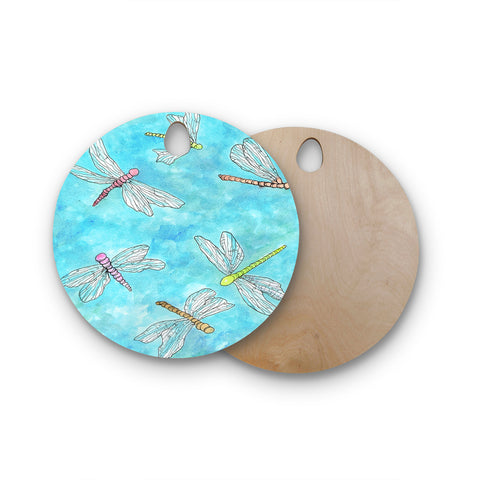 "Rosie Brown ""Dragonfly"" Round Wooden Cutting Board"