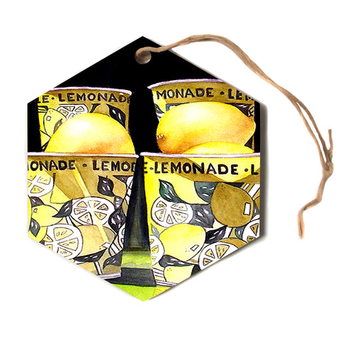 "Rosie Brown ""Lemonade"" Black Yellow Painting Hexagon Holiday Ornament"
