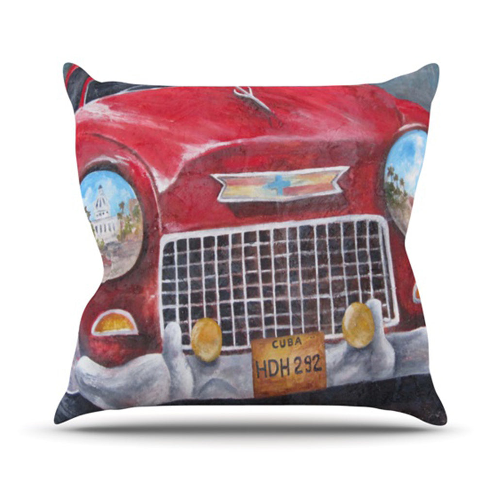 "Rosie Brown ""Vintage in Cuba"" Throw Pillow - KESS InHouse  - 1"