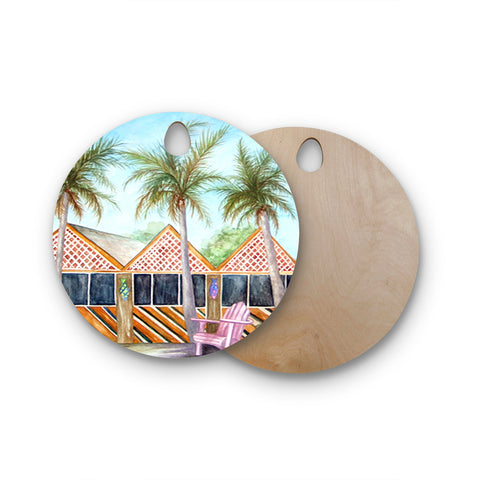 "Rosie Brown ""McT on Sanibel"" Round Wooden Cutting Board"