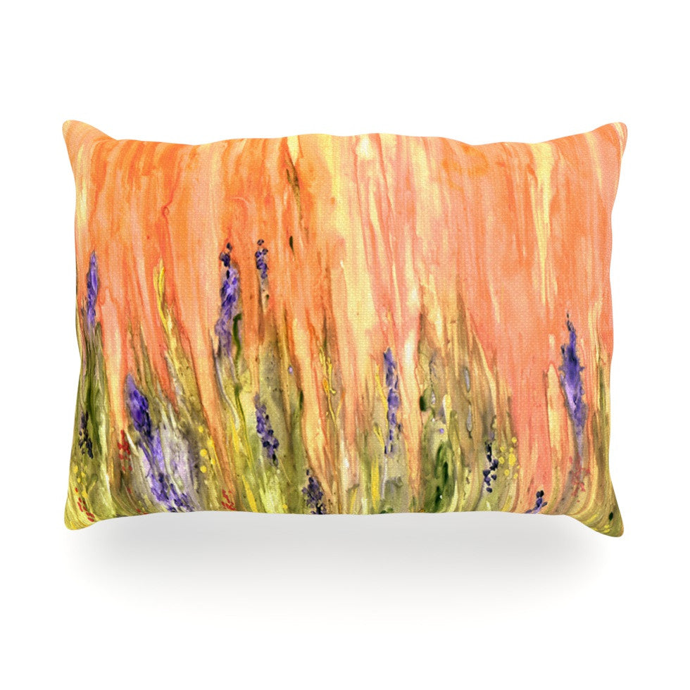 "Rosie Brown ""Welcome Spring"" Orange Green Oblong Pillow - KESS InHouse"