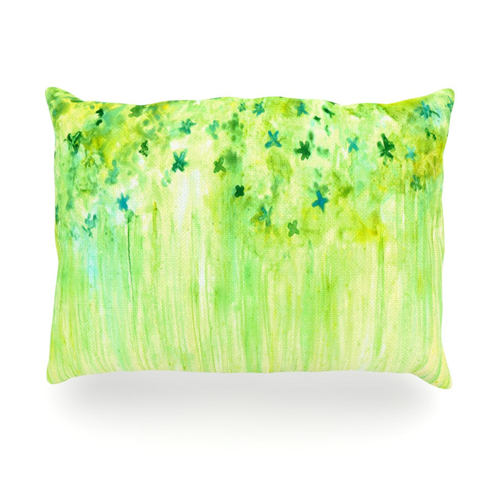 "Rosie Brown ""April Showers"" Lime Green Oblong Pillow - KESS InHouse"