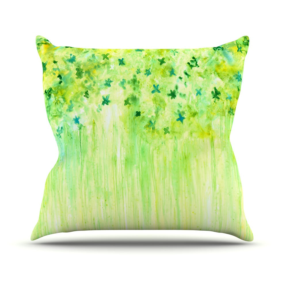 "Rosie Brown ""April Showers"" Lime Green Throw Pillow - KESS InHouse  - 1"