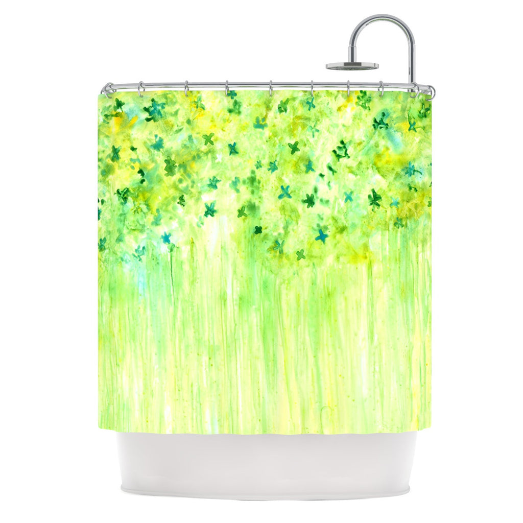 "Rosie Brown ""April Showers"" Lime Green Shower Curtain - KESS InHouse"