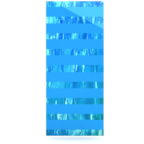 "Rosie Brown ""Wet Wild Stripes"" Aqua Blue Luxe Rectangle Panel - KESS InHouse  - 1"