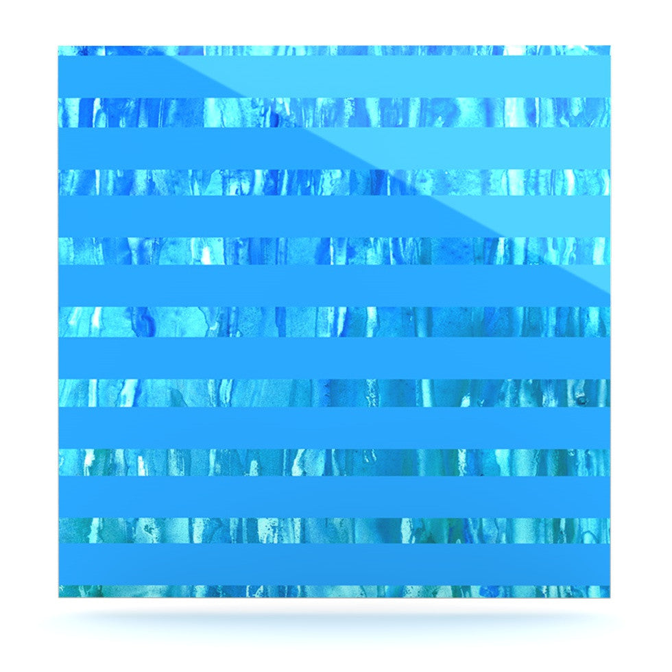 "Rosie Brown ""Wet Wild Stripes"" Aqua Blue Luxe Square Panel - KESS InHouse  - 1"