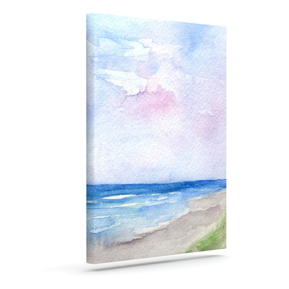 "Rosie Brown ""Wet Sand"" Beach View Outdoor Canvas Wall Art - KESS InHouse  - 1"