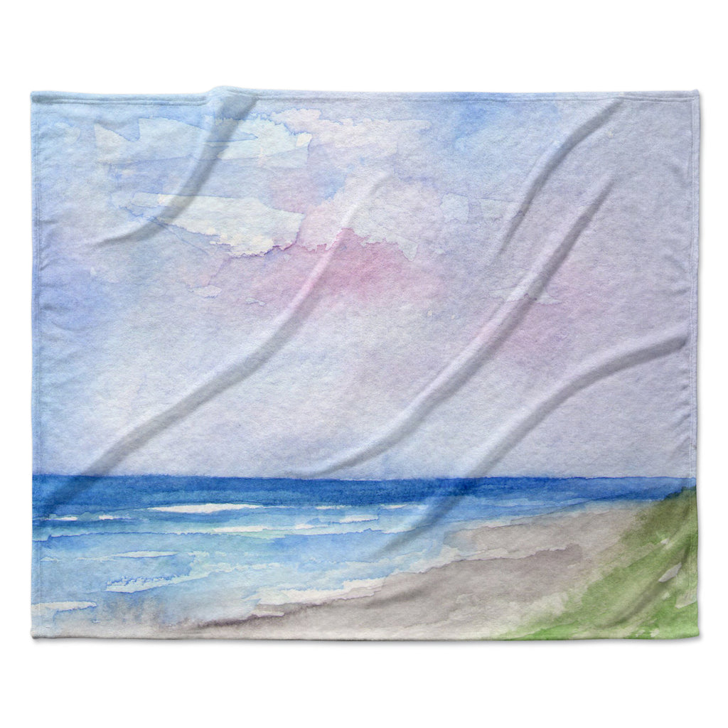 "Rosie Brown ""Wet Sand"" Beach View Fleece Throw Blanket"
