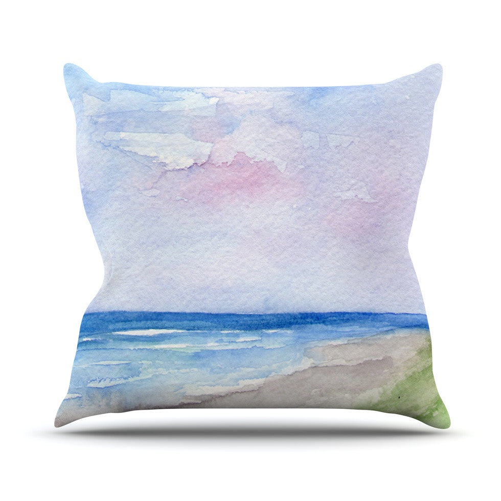 "Rosie Brown ""Wet Sand"" Beach View Outdoor Throw Pillow - KESS InHouse  - 1"