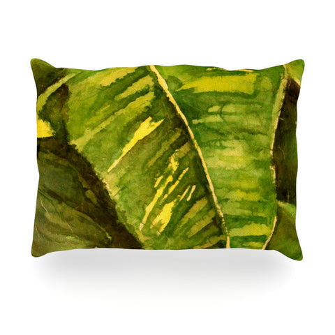 "Rosie Brown ""Tropical Garden"" Leaf Green Oblong Pillow - KESS InHouse"