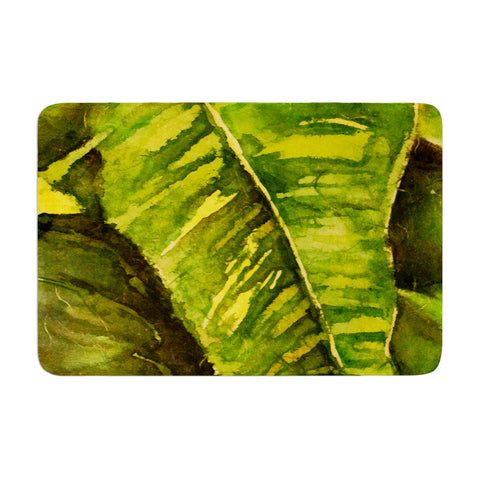 "Rosie Brown ""Tropical Garden"" Leaf Green Memory Foam Bath Mat - KESS InHouse"