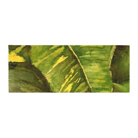 "Rosie Brown ""Tropical Garden"" Leaf Green Bed Runner - KESS InHouse"