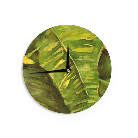 "Rosie Brown ""Tropical Garden"" Leaf GreenWall Clock - KESS InHouse"