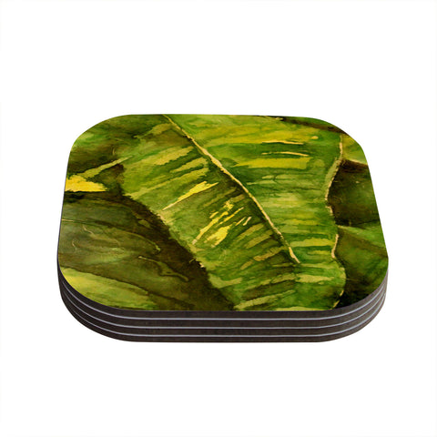 "Rosie Brown ""Tropical Garden"" Leaf Green Coasters (Set of 4)"