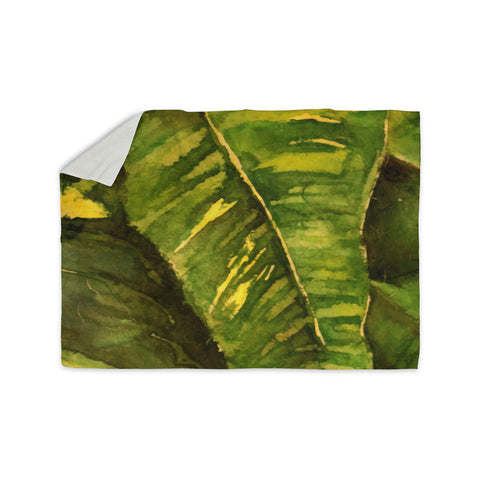 "Rosie Brown ""Tropical Garden"" Leaf Green Sherpa Blanket - KESS InHouse  - 1"