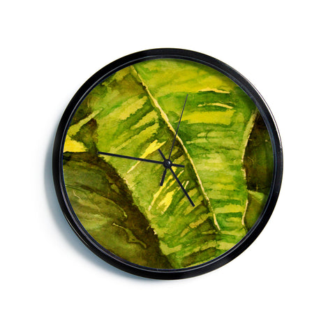 "Rosie Brown ""Tropical Garden"" Leaf Green Modern Wall Clock"