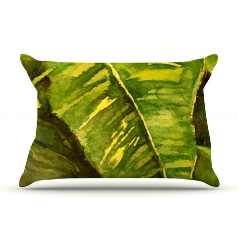 "Rosie Brown ""Tropical Garden"" Leaf Green Pillow Sham - KESS InHouse"