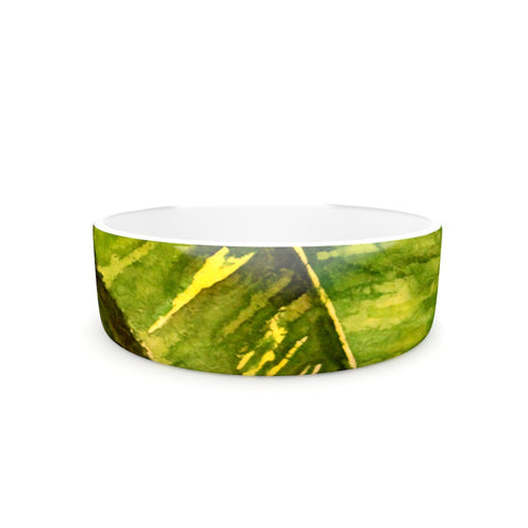 "Rosie Brown ""Tropical Garden"" Leaf Green Pet Bowl - KESS InHouse"