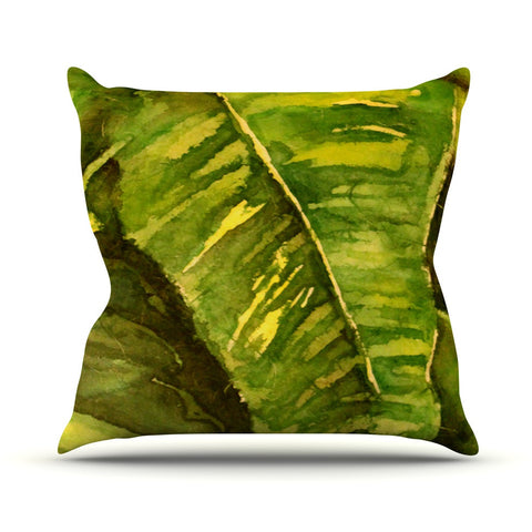 "Rosie Brown ""Tropical Garden"" Leaf Green Outdoor Throw Pillow - KESS InHouse  - 1"