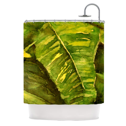 "Rosie Brown ""Tropical Garden"" Leaf Green Shower Curtain - KESS InHouse"