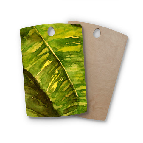 "Rosie Brown ""Tropical Garden"" Leaf Green Rectangle Wooden Cutting Board"