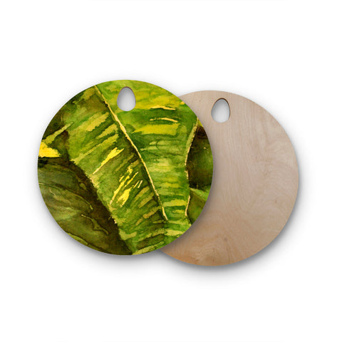"Rosie Brown ""Tropical Garden"" Leaf Green Round Wooden Cutting Board"