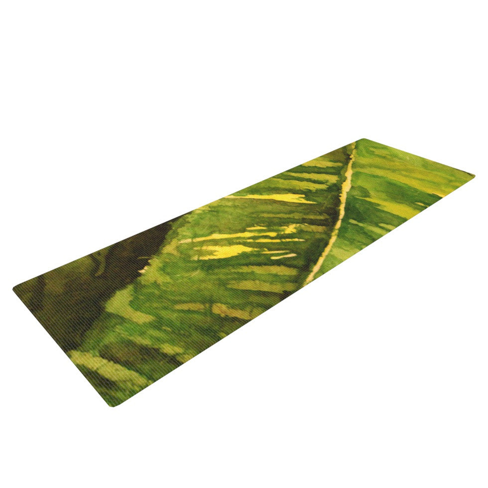 "Rosie Brown ""Tropical Garden"" Leaf Green Yoga Mat - KESS InHouse  - 1"