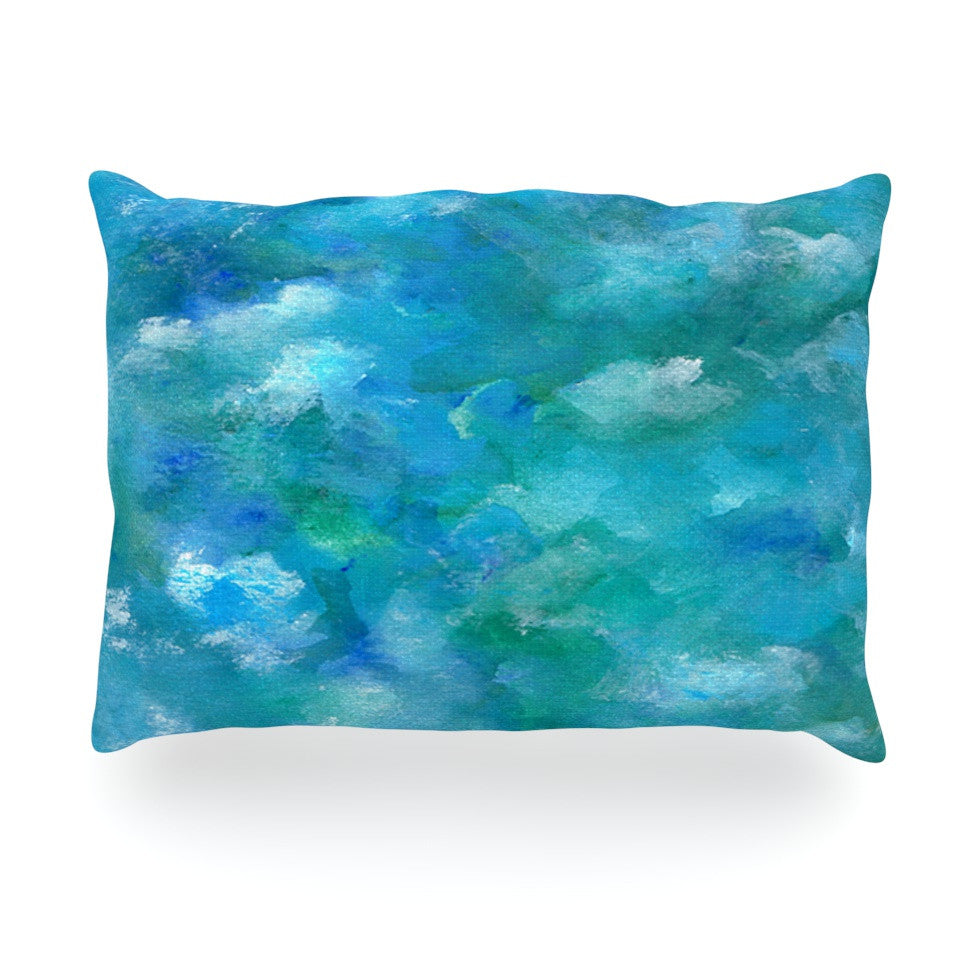 "Rosie Brown ""Ocean Waters"" Blue Aqua Oblong Pillow - KESS InHouse"