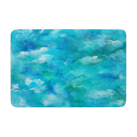 "Rosie Brown ""Ocean Waters"" Blue Aqua Memory Foam Bath Mat - KESS InHouse"