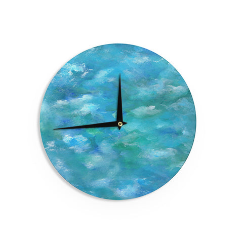 "Rosie Brown ""Ocean Waters"" Blue AquaWall Clock - KESS InHouse"