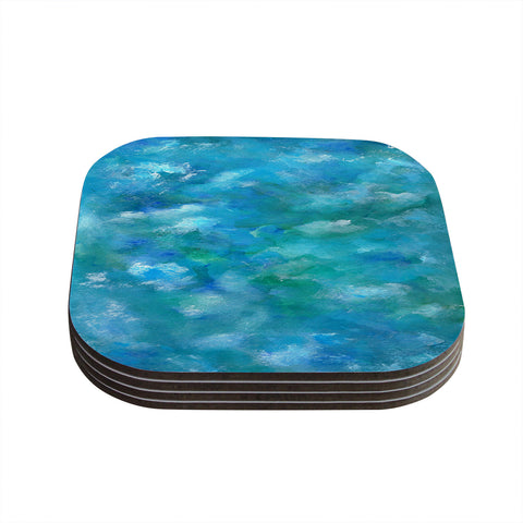 "Rosie Brown ""Ocean Waters"" Blue Aqua Coasters (Set of 4)"