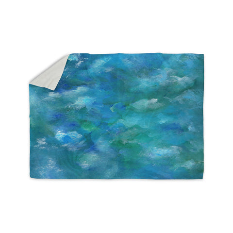 "Rosie Brown ""Ocean Waters"" Blue Aqua Sherpa Blanket - KESS InHouse  - 1"