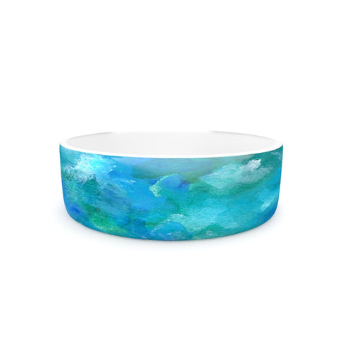 "Rosie Brown ""Ocean Waters"" Blue Aqua Pet Bowl - KESS InHouse"