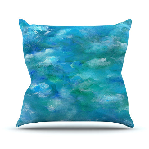 "Rosie Brown ""Ocean Waters"" Blue Aqua Outdoor Throw Pillow - KESS InHouse  - 1"