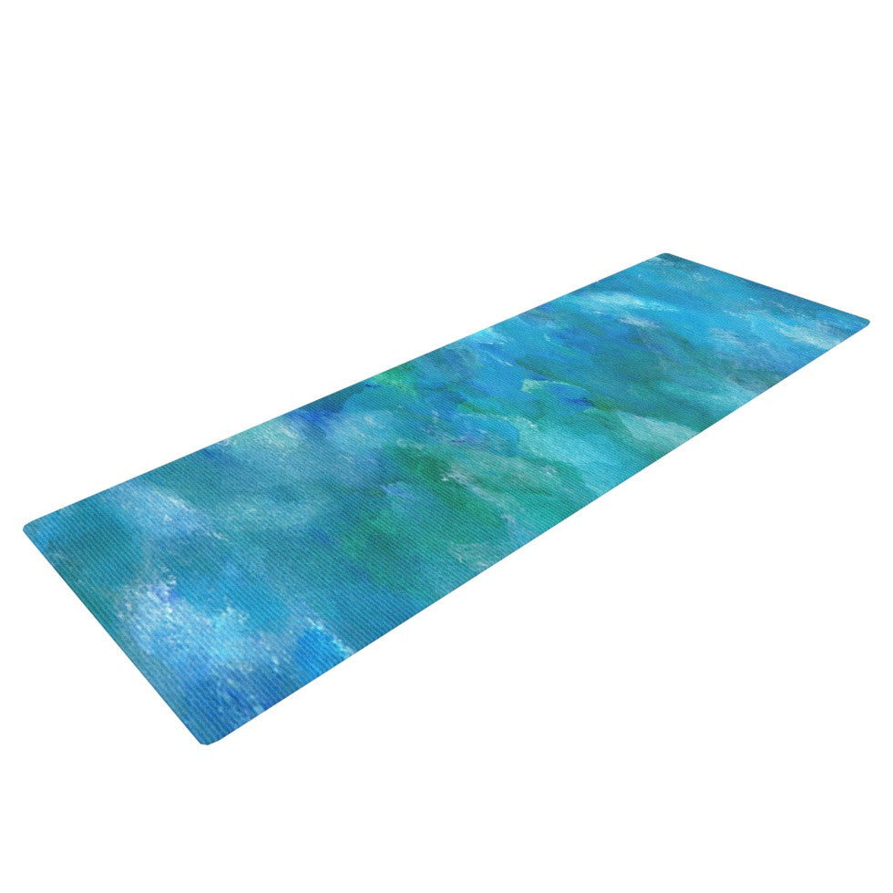 "Rosie Brown ""Ocean Waters"" Blue Aqua Yoga Mat - KESS InHouse  - 1"