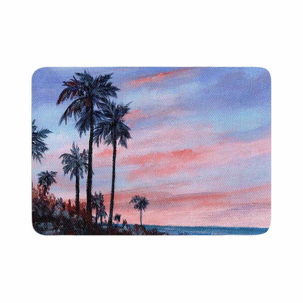 "Rosie Brown ""Florida Sunset"" Pink Blue Memory Foam Bath Mat"