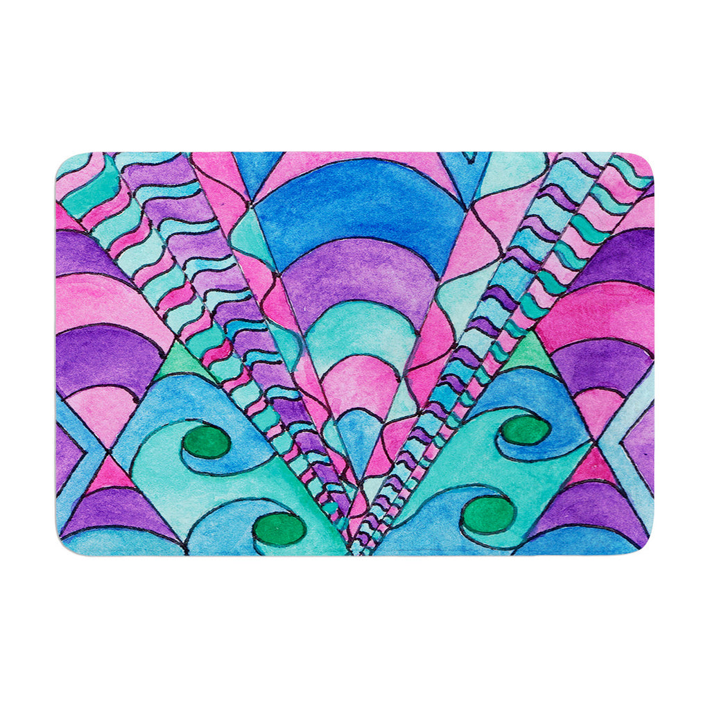 "Rosie Brown ""Gatsby Inspired"" Blue Pink Memory Foam Bath Mat - KESS InHouse"